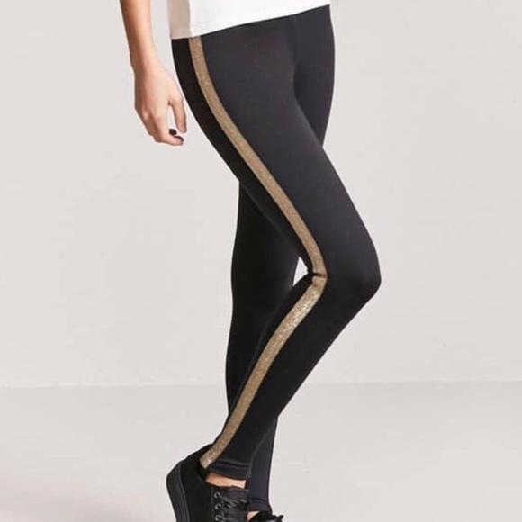 805e40be2a71 Forever 21 Pants | Metallic Stripe Stirrup Leggings S | Poshmark